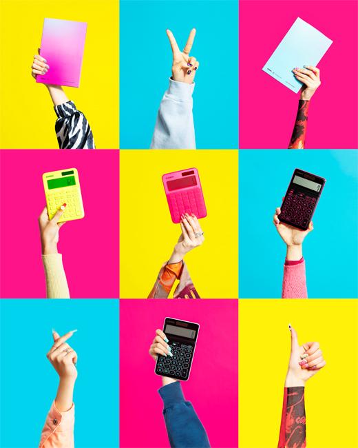 電卓が色鮮やかに進化した。個性的な色使いが楽しいビビットなネオンカラー電卓が新発売!